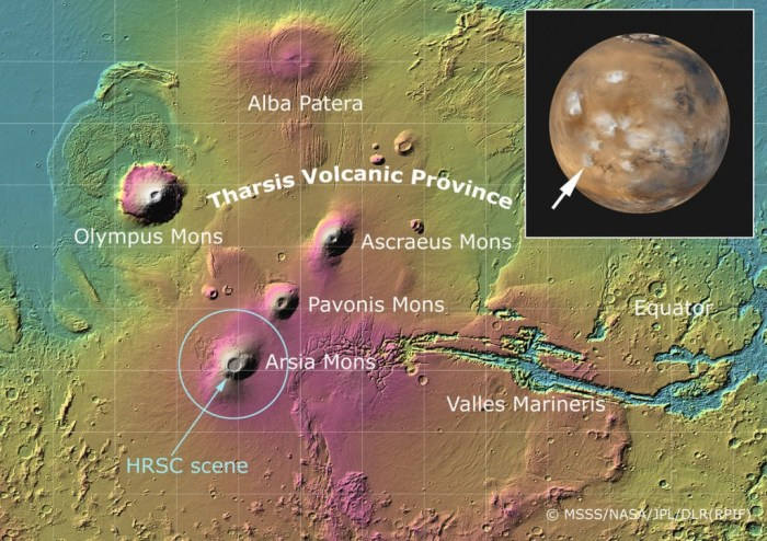 """Fig 1. Tharsis, the volcanic province of Mars which is at least 4 GY old, is the setting for our story """"Mars 2067, the Olympus Mons Expedition"""". The location of our colony, """"Olympia"""", is at the foot of the T in """"Tharsis. (MSSS/NASA/JPL/DLR (RPIF)"""