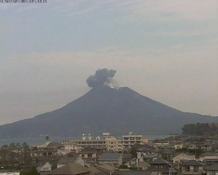 Sakurajima erupting through the Minami-dake crater on March 16 (Webcam capture)