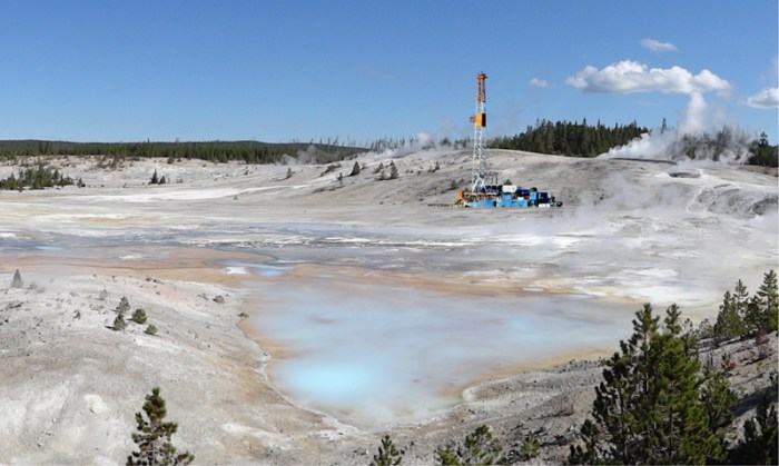Geothermal drilling test at Porcelain Geyser Basin, Yellowstone, Oct. 2015
