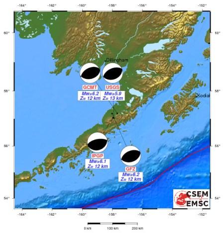 Graphic from EMSC-CSEM. Beachballs for the earthquake.