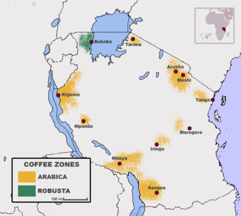 Coffee growing regions in Tanzania. Source: wikipedia.