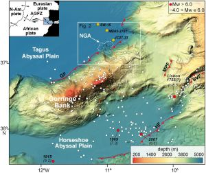 The Gorringe Bank region. Taken from Claudio Lo Iacono et al.  Geology (2012), 40, 931-934