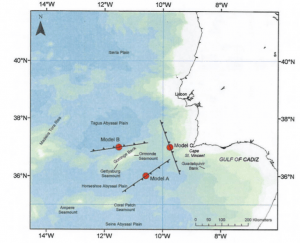 Three proposed locations for the Lisbon earthquake. Richardson et al. 2010 nora.nerc.ac.uk/2767/1/Tsunamis_assessing_the_hazards.pdf‎