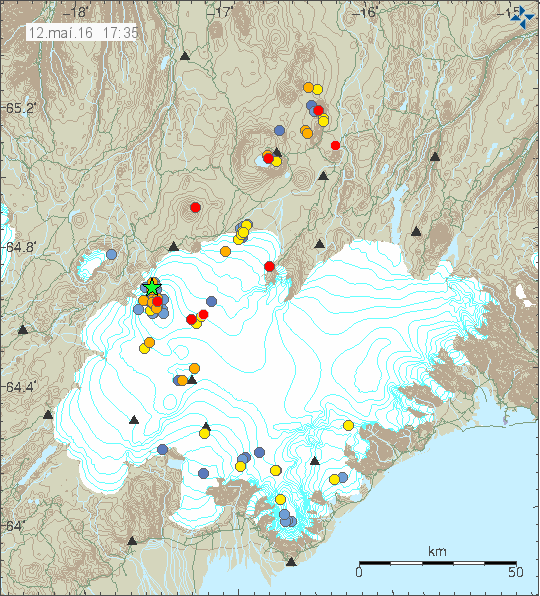 Earthquakes at Vatnajökull. Image courtesy of Icelandic Met Office.
