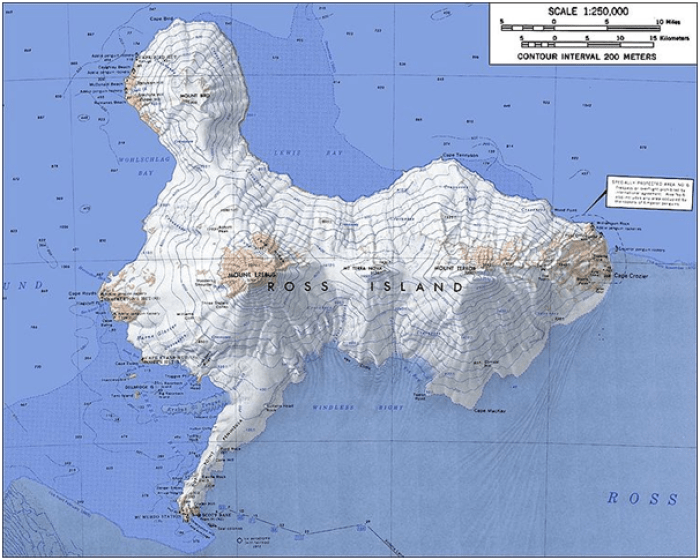 Map showing the four volcanos of Ross Island.