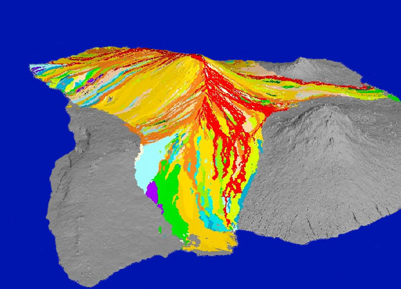 Lava flows from Mauna Loa. Hilo is front centre, Mauna Kea right. Red and orange are flows since 1832.