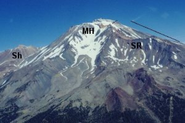Shasta's peaks: SR – Sargents Ridge 250kA, MH – Misery Hill 130 kA, Sh – Shastina 9.5 kA. The current summit, the Hotlum cone is younger than Shastina. (siskiyous.edu)