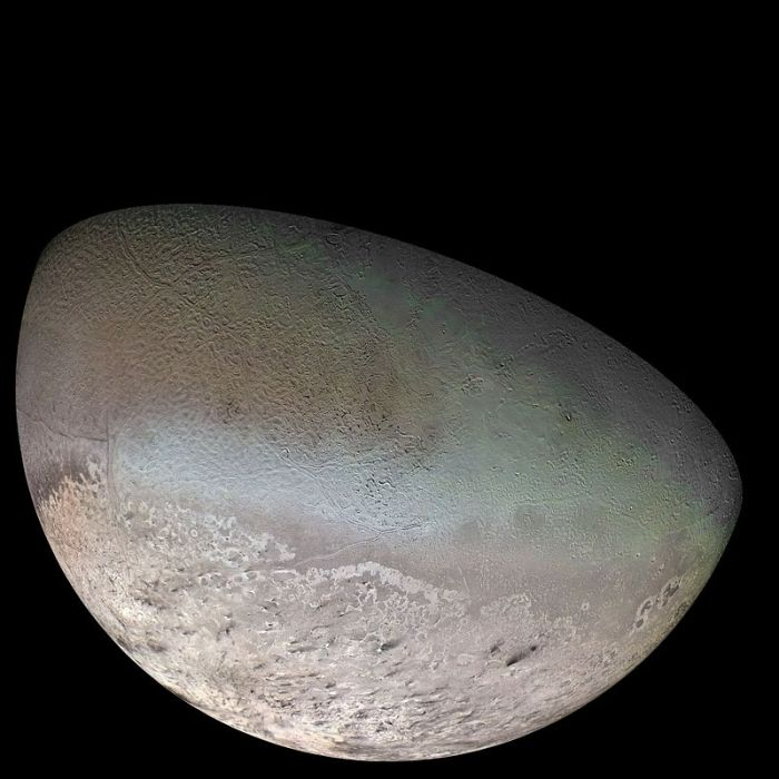 The surface of Triton, as photographed by Voyager