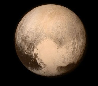 A New Horizons image of Pluto showing its big heart