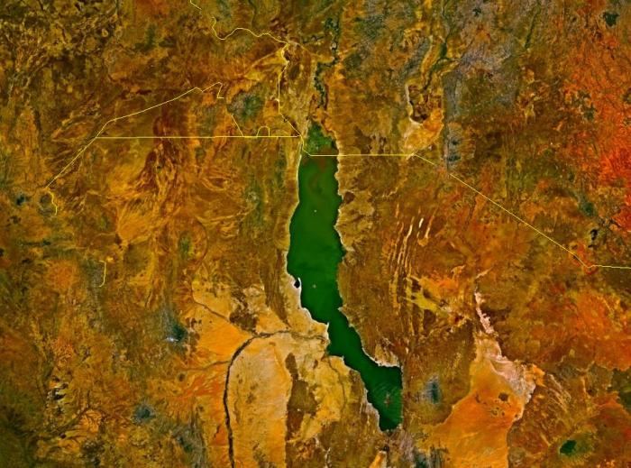 Lake Turkana from Space. Note the lovely Turquoise Water in the desert.