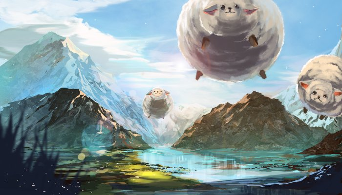 You knew there would be a cheesy picture of flying sheep didn't you? Artwork by Aimi-Ame.