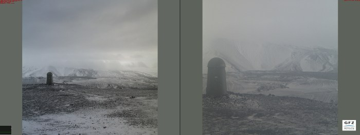 Alone, but never forgotten, the frozen Dalek stands vigil in the desolate mist. Photograph from the IMO webcam at Búrfell, captured by Carl Rehnberg.