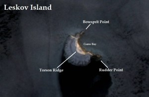 Satellite image of Leskov Island. IMAGE: Landsat 8/EOS Data Analytics. Annotated by René Goad.
