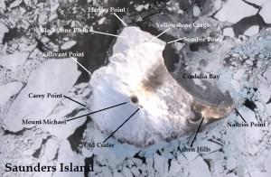 Satellite image of Saunders Island. IMAGE: Landsat 8/EOS Data Analytics. Annotated by René Goad.