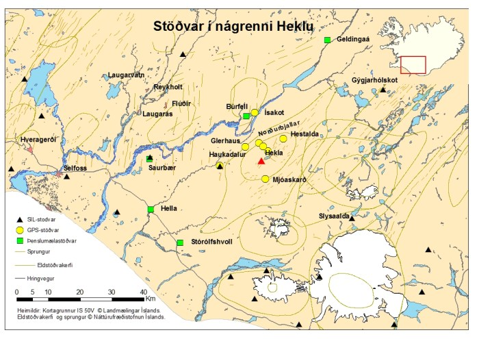 Map showing most of the Hekla strainmeters. Note that the map is a bit old and that two new strainmeters have been brought online. Image courtesy of the Icelandic Met Office.