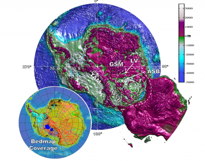 From Von Frese et al. 2013, Tectonophysics, 585, 185.  Topography of Antartica below the ice cap. The white circle shows the proposed Wilkes Land crater, 500 km across, which coincides with a mass concentration and a magnetic anomaly. The location of Australia relative to Antarctica, as it was in the Permian, is also shown.