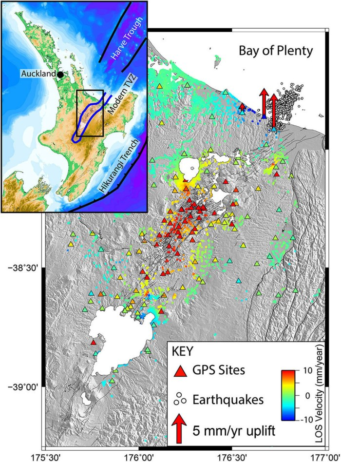 Taupo Volcanic Zone and the area of inflation. Source: Ian Hamling