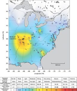 The small star shows a possible epicentre of the 23 Jan 1812 event; the large star shows the location of the 1968 Southern Illinois earthquake. Black circles correspond to locations where liquefaction was documented during the 1811–1812 sequence. The easternmost and largest circle identifies the location of the White County, Illinois, event, the account of which describes substantial liquefaction as well as surface cracking From Mueller et al, Nature, 429, 284 (2004)