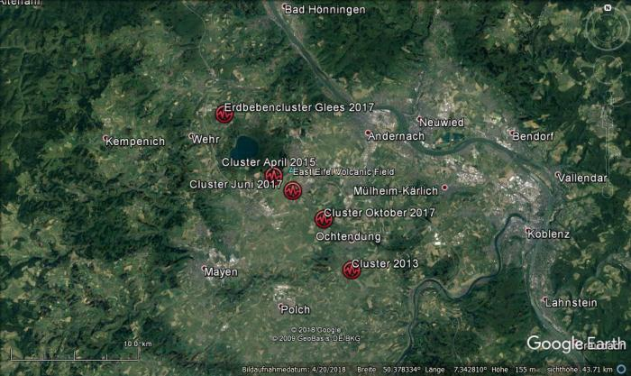 The seismic swarms that have occurred below the Laacher See area since 2013. © Jens Skapski.
