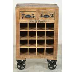 Rustic -sarjan 55 cm leveä viinivaunu / laatikosto