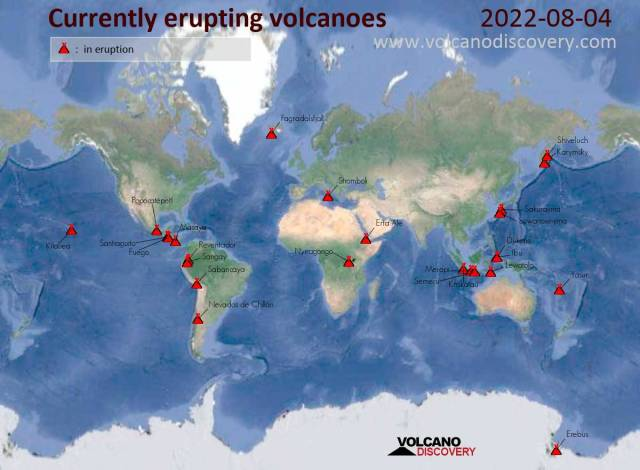 Daily active volcano map