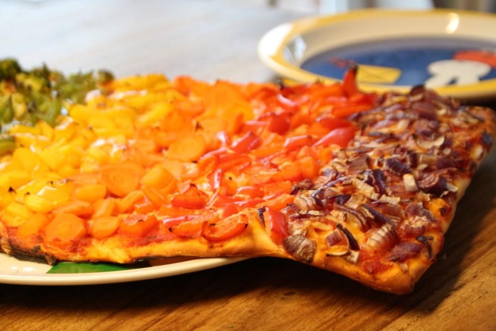 regenboogpizza-maken