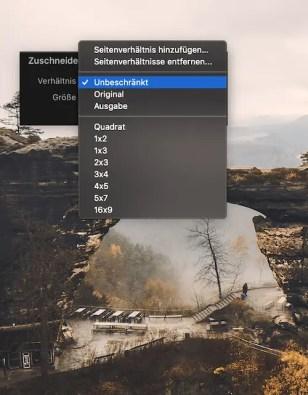 Schneidewerkzeug Bildformat Seitenverhältnisse