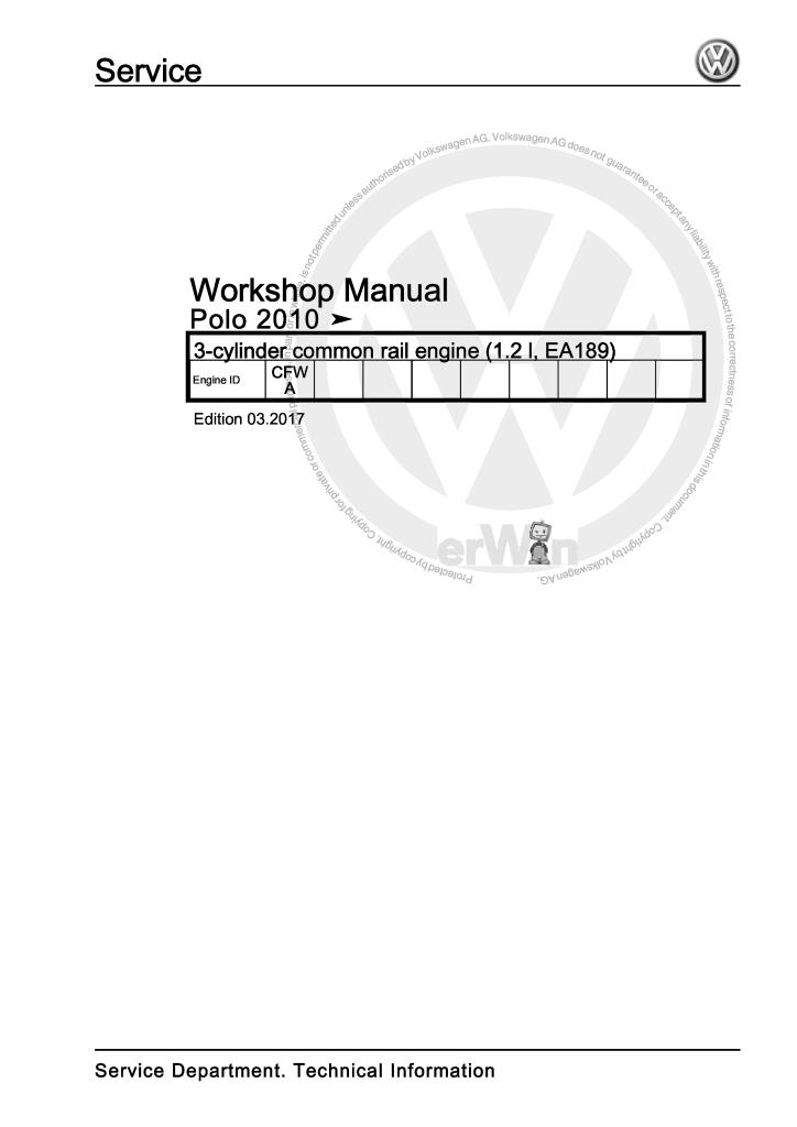 3 cylinder common rail engine 1 2 l ea189 workshop manual