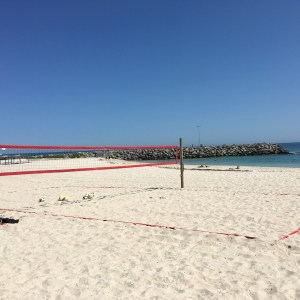 Wooden Post with Eye Bolt Beach Volleyball System