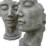 Skulptur Set Gesicht Mann Und Frau Steinguss