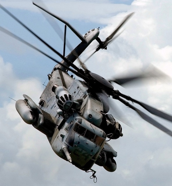 Turning helicopter