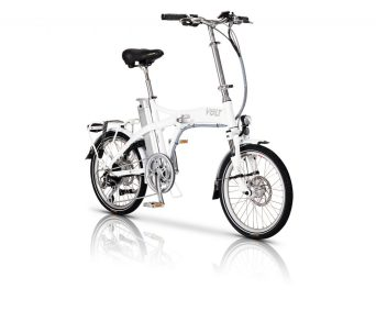The white VOLT Metro folding e-bike
