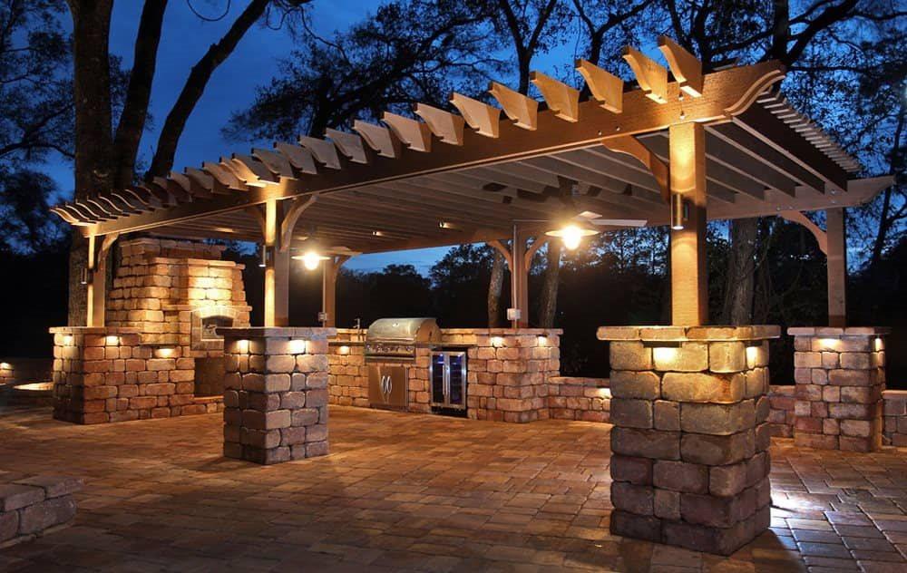 stunning outdoor kitchen and pergola
