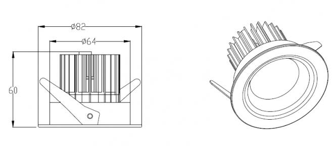 NORDLICHT ABS08-68 LED-Einbauspot 8W mit Anti-Blend
