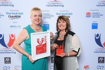 L-R Gemma Rygate & Sandra McDonald, NSW Senior Volunteer of the Year 2016