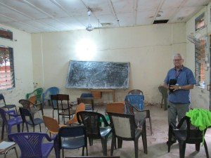 Luc in classroom at the old campus
