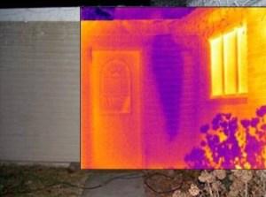 Infrared Thermal Imaging shows hidden water leak near exterior front door of home.