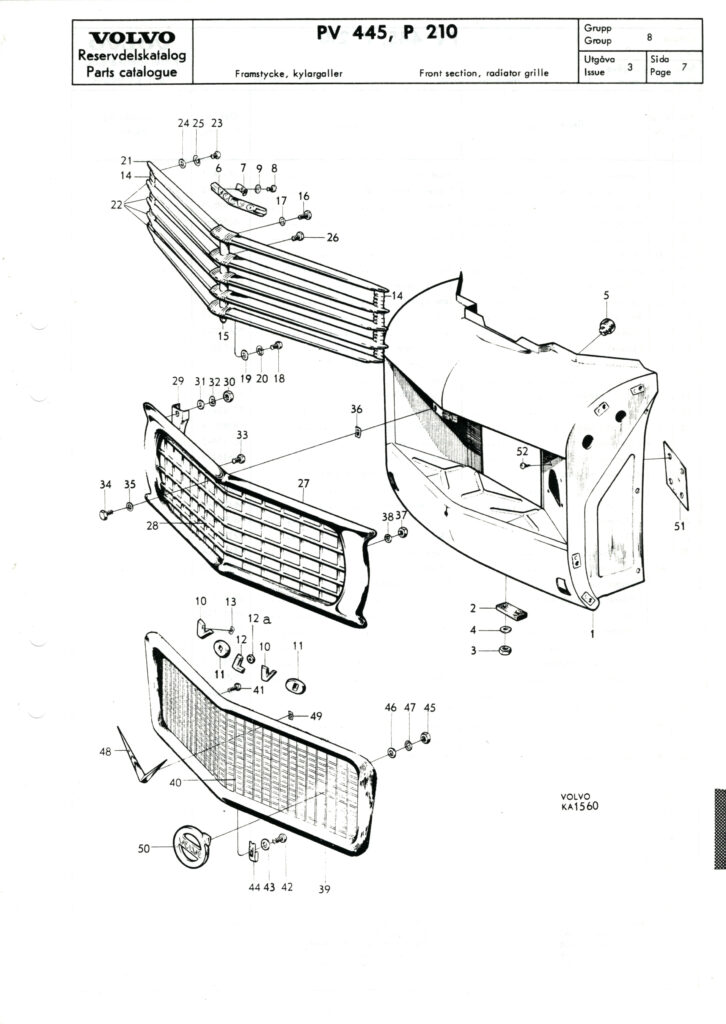 Volvo PV445, P210 Parts Catalogue