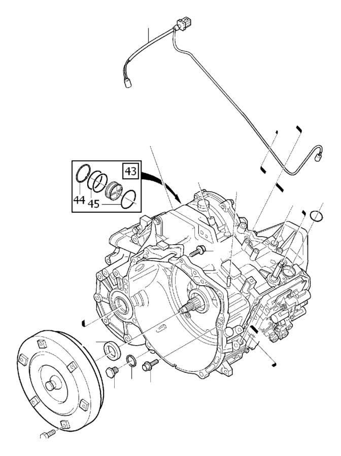 Exchange system engine 8-Cylinder adapter gearbox, angle