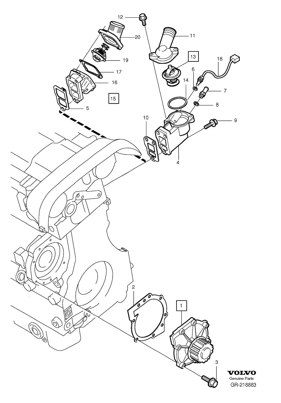 Volvo S60 Coolant pump thermostat 5-Cylinder