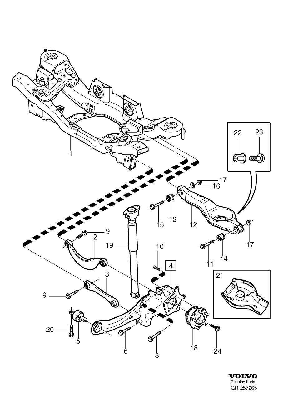 V50 Rear suspension stay, arm, joint awd