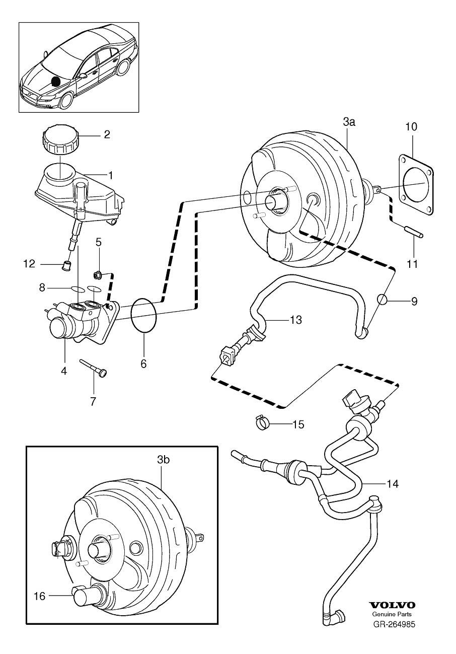 S80 Master cylinder, brake servo