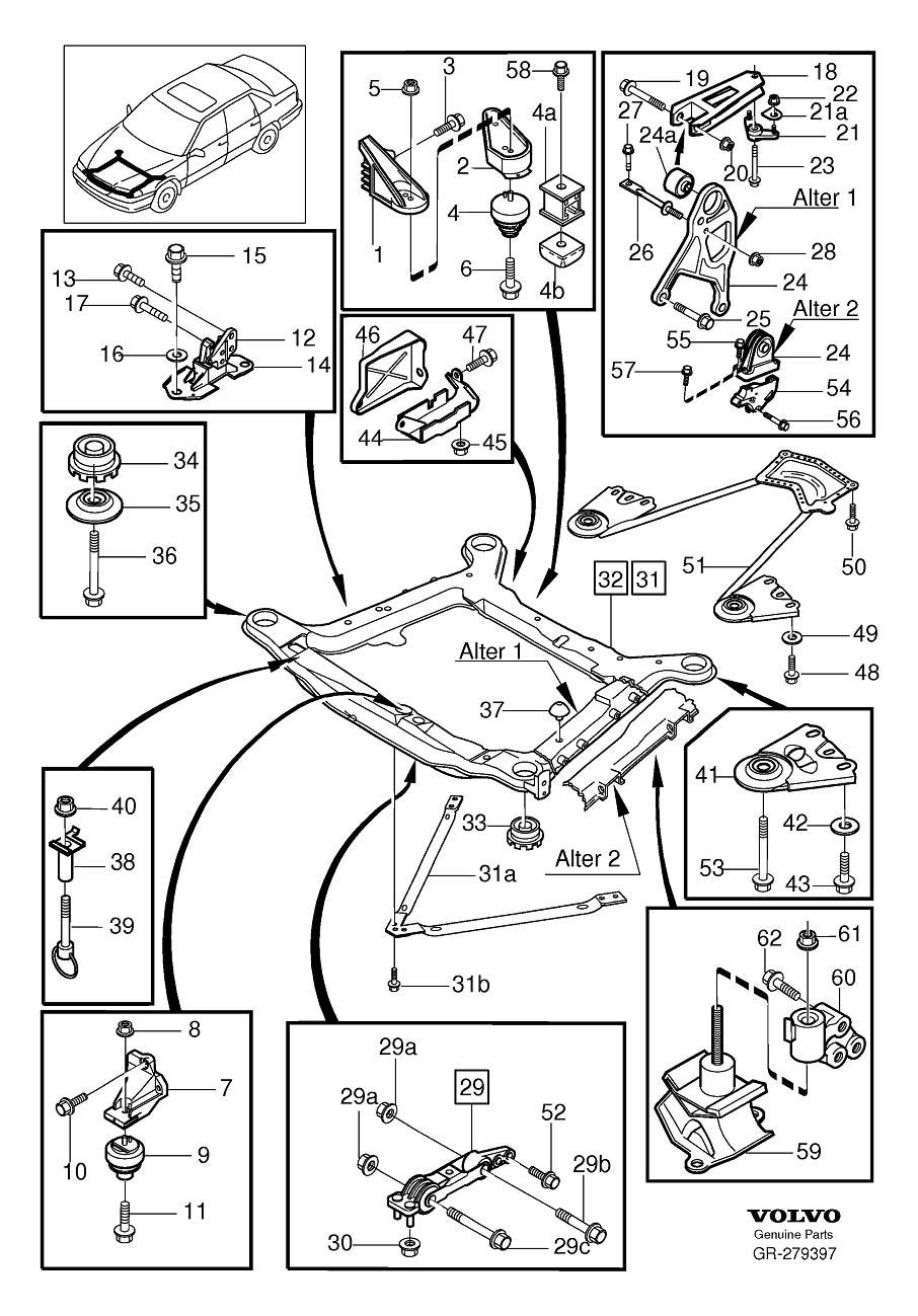Motorkudde / motorfäste till Volvo 850, S70, V70, V70XC