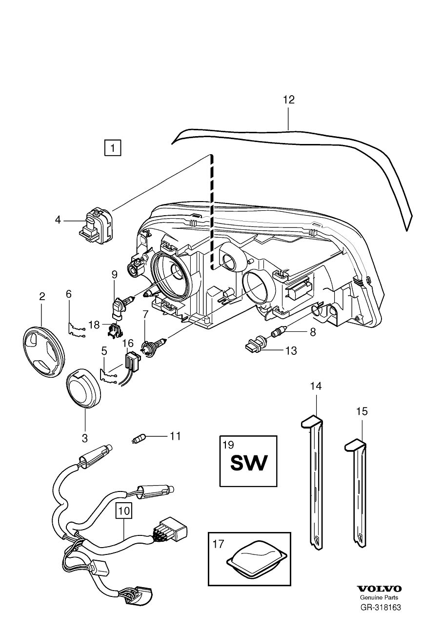 2004 Volvo Xc90 Headlight Parts Diagram. Volvo. Auto