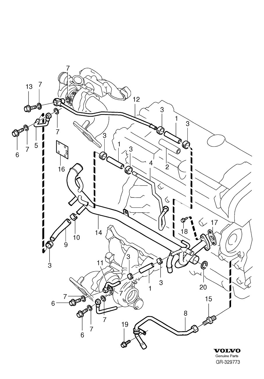 Volvo Water pipe, turbocharger water cooling 6-Cylinder