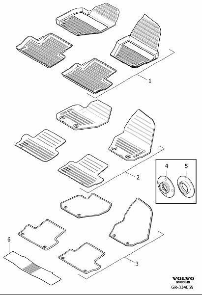 2012 Volvo XC60 Mat, passenger compartment floor, rubber
