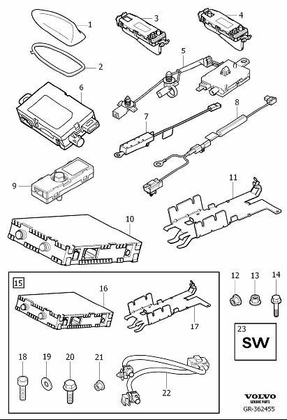 Volvo XC60 Wiring harness. Retrofitted, Tuner, DAB