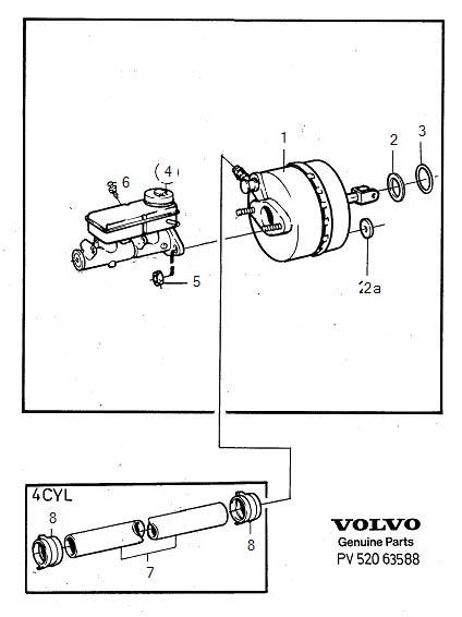Master cylinder servo cylinder Vacuum pump