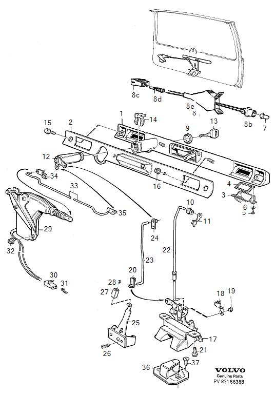 2002 volvo v70 door latch diagram