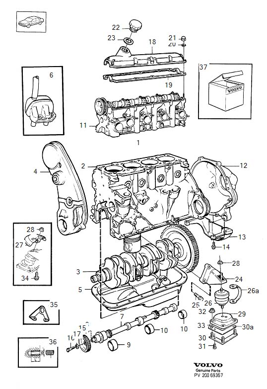 Engine with fittings B200, B230 B230F, B230FT